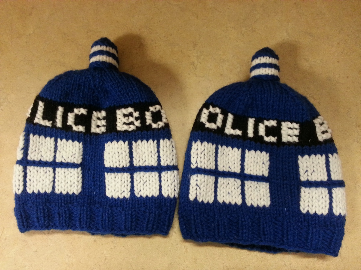 Knitting Pattern Tardis Hat : Baby / Toddler TARDIS knitted hat Wibbly Wobbly Knits